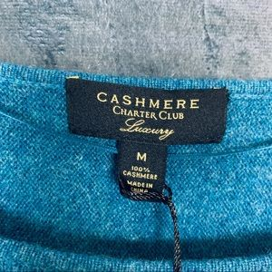 Charter Club Sweaters - NEW 100% Cashmere Teal Trapeze Cashmere Sweater M
